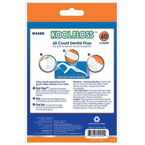 Dr Fresh Kool Floss picks 60 pack - back