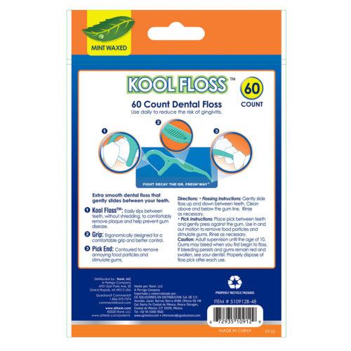 Dr fresh mint waxed Kool Floss 60 count back